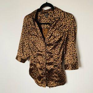 Guess top cheetah print silk button up blouse